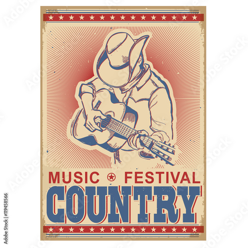 Fotobehang Vintage Poster American music festival background with musician playing guitar.