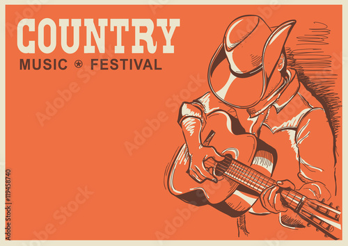 Fotobehang Vintage Poster American country music festival poster with musician playing gui