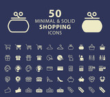 Set of 50 Shopping Minimal and Solid Icons. Vector Isolated Elements.