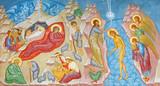 BRUGGE, BELGIUM - JUNE 13, 2014: Fresco of the Nativity scene and Baptism of Christ scene in st. Constanstine and Helena orthodx church (2007 - 2008). - 119466534