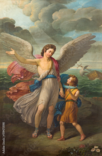 Fototapeta BRESCIA, ITALY - MAY 21, 2016: The painting of Archangel Raphael and Tobias in church Chiesa di San Zeno al Foro by unknown artist of 19. cent.