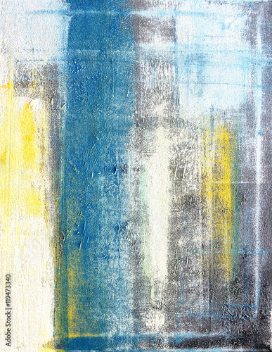 Teal and Yellow Abstract Art Painting - 119473340