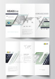 Tri-fold brochure business templates on both sides. Easy editable layout in flat design. Dotted world globe with abstract construction and polygonal molecules, gray background, vector illustration
