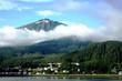 Alaska costal landscape with low clouds