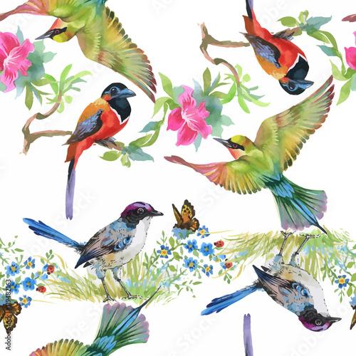 Stoffe zum Nähen Aquarell Hand gezeichnete nahtlose Muster mit tropischen Sommerblumen und exotische Vögel
