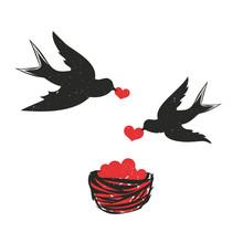 Ilustracja wektorowa z para jaskółek z czerwonym serc i gniazdo. Słodkie i romantyczne Walentynki kartkę z życzeniami