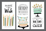 Set of birthday greeting cards design - 119492701