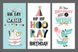 Fototapety Set of birthday greeting cards design