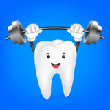 Strong weight-lifting tooth. Cute cartoon illustration, isolated on blue background.  great for health dental care concept.