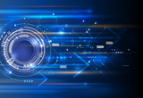 Fototapety Vector Abstract technology background with eyeball, circuit board, speed motion blur of light rays, arrow, stripe line on dark blue background. Hi-tech, science, futuristic, energy technology concept