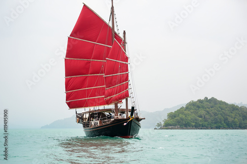 ship with red sails
