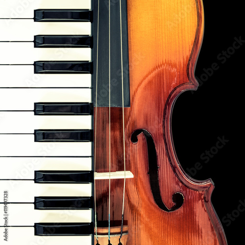 Poster piano & classical violin, isolated on black for music background