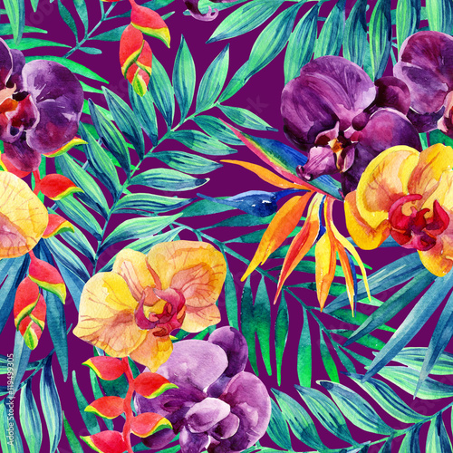 Materiał do szycia Watercolor tropical leaves and flowers seamless pattern.