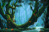 Fototapety The Virgin Forest. Video Game's Digital CG Artwork, Concept Illustration, Realistic Cartoon Style Background