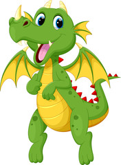 Cute green dragon cartoon
