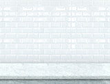 Empty white marble table top with glossy ceramic white tile wall