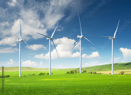 Wind power station. Ecological energy composition Poster