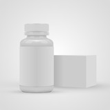 Blank pills container with blank label and package box isolated on white background