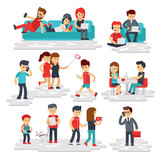 People with gadgets vector flat style isolated on white background. Men and women use phones, smartphones, tablets, laptops. Happy people and devices, gadget addiction flat illustration - stock vector