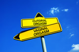 Clitoral or Vaginal Orgasm - Traffic sign with two options - two types of sexual excitement. Stimulation of clitoris by masturbation or oral sex vs penetration of vagina and stimulation of G-spot