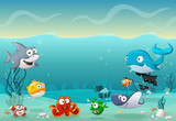 Fototapety Cartoon fish under the sea. Underwater world with corals.