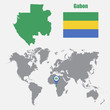 Постер, плакат: Gabon map on a world map with flag and map pointer Vector illustration