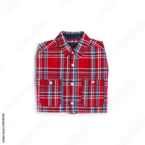 Red plaid shirt on white background