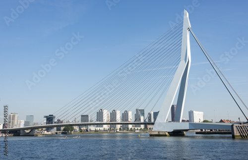 Erasmusbridge in the port of Rotterdam city in Holland