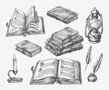 Fototapety Hand-drawn vintage books. Sketch old school literature. Vector illustration