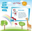 Cartoon kid template with Rainbow