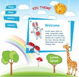 Cartoon kid template with Rainbow - 119555314
