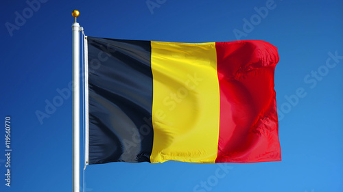 Belgium flag waving against clean blue sky, close up, isolated with clipping mask alpha channel transparency, perfect for film, news, digital composition