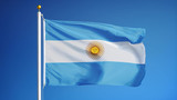 Argentina flag waving against clean blue sky, close up, isolated with clipping mask alpha channel transparency, perfect for film, news, digital composition