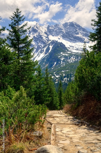 Spring mountain landscape. Mountain trail and rocky peaks in High Tatra, Poland.