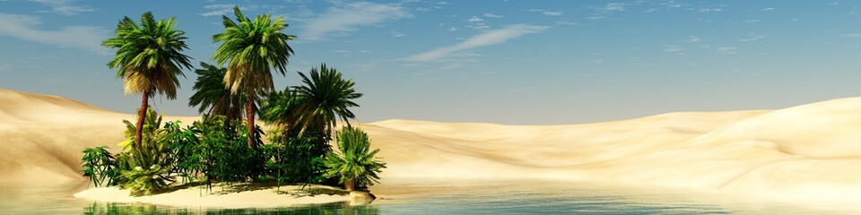 Panorama of the desert. Oasis and palm trees. banner.
