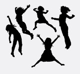 Children happy activity silhouette. Good use for symbol, logo, web icon, mascot, sign, sticker design, or any design you want.