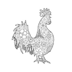 Hand drawn doodle outline rooster illustration imitation. Decorative abstract floral ornate rooster drawing. Adult colouring bird. Stylized flower cartoon rooster or cock for colouring and drawing.