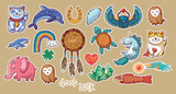 Collection of stickers with lucky symbols