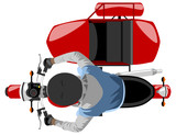 Fototapety color classic side car motorcycle with rider wearing sleeveless jacket, hoodie and helmet isolated top view
