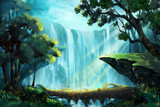 Fototapety The Wood Bridge inside the Deep Forest near a Waterfall. Video Game's Digital CG Artwork, Concept Illustration, Realistic Cartoon Style Background