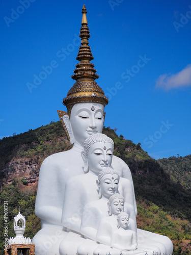 Fototapeta White buddha in Thailand