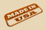 Carved stamp with made in USA text. 3d rendering