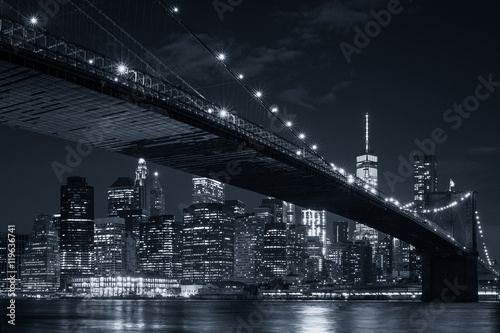 Foto op Aluminium New York The downtown Manhattan skyline and the Brooklyn Bridge at night