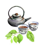 Teatime: asian tea pot, teacup and green leaves. Watercolor