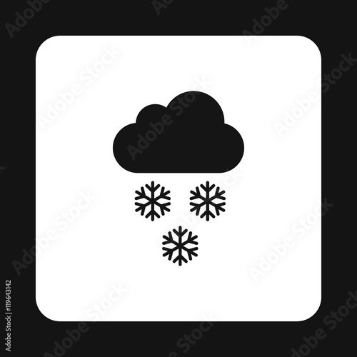 Cloud and snowflakes icon in simple style on a white background