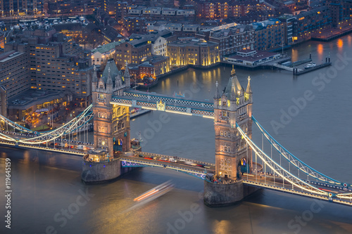 London, England - Aerial view of the world famous Tower Bridge by night