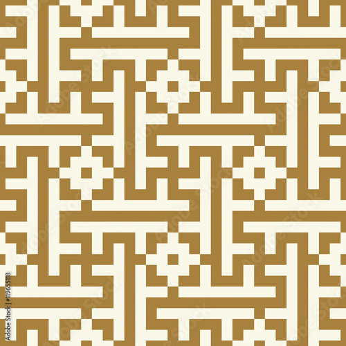 Morocco Seamless Pattern. Traditional Arabic Islamic Background. Mosque decoration element. Ancient pixel graphic style. - 119655118
