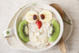 Owl porridge breakfast , Fun Christmas food art for kids