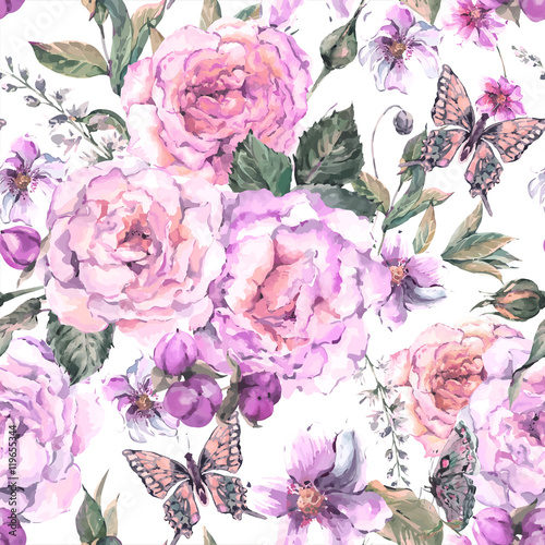 Seamless background with roses and butterfly
