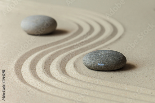 Spoed canvasdoek 2cm dik Stenen in het Zand Zen stone garden